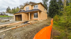 American suburban home in mid construction phase Stock Footage