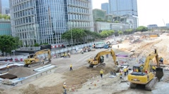 Hong Kong - AUGUST 1, 2014: Hong Kong Construction site on August 1 in Hong Kong Stock Footage