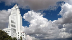 Historic Los Angeles City Hall with Gathering Clouds Time Lapse3 - stock footage