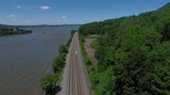 Bannerman Castle Pollepel Island train track reveal left Stock Footage