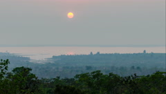 Time lapse - scenes of sunset over the dam-pan Stock Footage