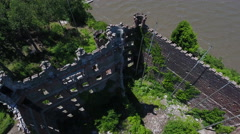 Bannerman Castle Pollepel Island overhead spin left Stock Footage