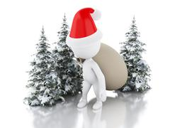 3d renderer image. Santa Claus with bag of gifts and Christmas tree in fresh Stock Illustration