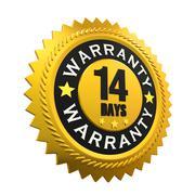 14 Days Warranty Sign - stock illustration