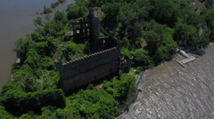Bannerman Castle Pollepel Island flyover overhead south Stock Footage