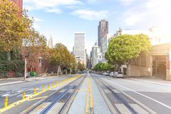 Road with rail in san francisco Stock Photos