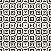 Vector Seamless Black And White Irregular Wavy Lines Geometric Pattern Stock Illustration