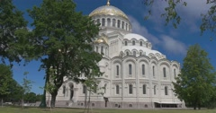Naval Cathedral in Kronstadt. The Eastern facade. Stock Footage
