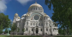 Naval cathedral of Saint Nicholas in Kronstadt. Stock Footage
