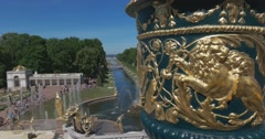 Peterhof Palace: the Samson Fountain and Sea Channel Petergof. Vase Stock Footage