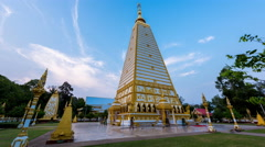 Time lapse - scenes of sunset at Wat Phrathat Nong Bua  Stock Footage