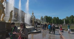 Grand Peterhof Palace and the Grand Cascade. Petergof Stock Footage