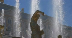 Palace, detail of sculpture of Fountain of Samson. Petergof Stock Footage