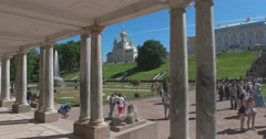 The East Chapel, one of a pair flanking the central buildings. Petergof Stock Footage