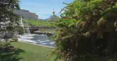 The Palace, the cascade of fountains, the spruce. Petergof Stock Footage