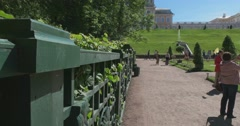 Palace square and the alley. Petergof Stock Footage
