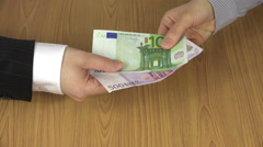 Woman hand pay euro cash 100 and 500 banknotes for man. 4K Stock Footage