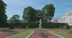 Palace square. Park. Sculpture. view from the garden. Tsarskoye Selo. Stock Footage