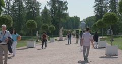Palace square. Park and people. Tsarskoye Selo. Tsar's Village Stock Footage