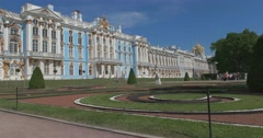 Palace square. The Catherine Palace. Tsarskoye Selo. Tsar's Village Stock Footage