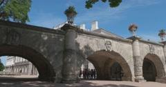 The Cameron Gallery. The arches of the bridge. Tsarskoye Selo. Tsar's Village Stock Footage