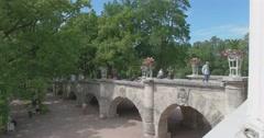 Catherine Park. The bridge in the Gallery. Tsarskoye Selo. Tsar's Village Stock Footage