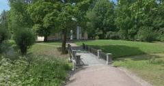 Catherine Park. The bridge and marble gazebo. Tsarskoye Selo. Tsar's Village Stock Footage