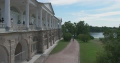 Cameron Gallery. Views of the Large Pond. Tsarskoye Selo. Tsar's Village Stock Footage