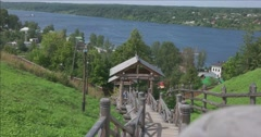 Wooden staircase to the river Volga. Plyos Stock Footage