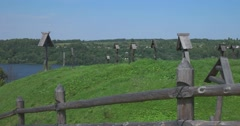 The old cemetery and wooden crosses. Views of the river Volga. Plyos Stock Footage