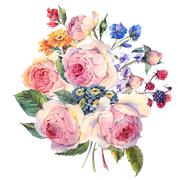Watercolor bouquet of English rosesand wildflowers - stock illustration
