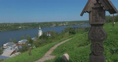 Views of the river Volga and the city Plyos Stock Footage