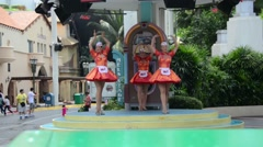 Singapore - AUGUST 5, 2014: Street entertainment at Universal Studios Singapore Stock Footage