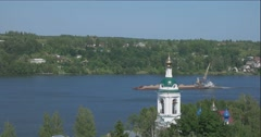 View of the mountain Levitan on the Volga river in the city Plyos Stock Footage