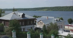 View of the Volga river from the hill. The roofs of the houses. Plyos Stock Footage
