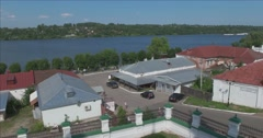 View of the Volga river from the hill. The entrance to the city Plyos Stock Footage