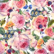 Classical vintage floral seamless pattern - stock illustration