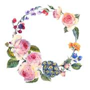 Vintage wreath of flowers bouquet with English roses Stock Illustration