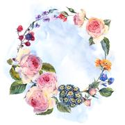 Vintage wreath of flowers bouquet with English roses - stock illustration