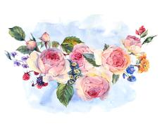 Watercolor bouquet of English roses and wildflowers Stock Illustration