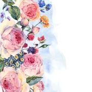 Watercolor bouquet of English roses and wildflowers - stock illustration