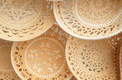 Plates and sugar bowls made of birch bark, Russian folk ar Stock Photos