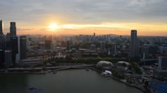 Evening view of downtown Singapore - stock footage