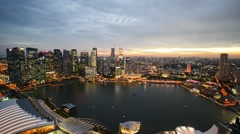Evening view of downtown Singapore Stock Footage