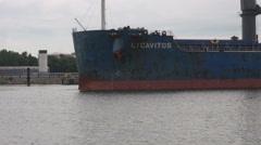 Cargo ship Lycavitos in Klaipeda harbor Stock Footage