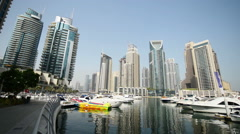 Dubai - AUGUST 7, 2014: Skyscrapers at Dubai Marina on August 7 in Dubai, UAE Stock Footage