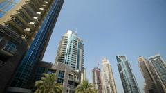 Dubai - AUGUST 7, 2014: Skyscrapers at Dubai Marina on August 7 in Dubai, UAE Stock Footage