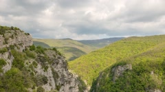 Clouds over the Grand Canyon of Crimea. Time Lapse Stock Footage