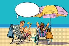 Beautiful couple man and woman resting on the beach Stock Illustration