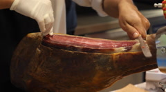 Grocer with ham Stock Footage